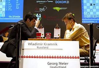 Echecs à Dortmund : Vladimir Kramnik (2785) 1-0 Georg Meier (2656) © Photo Georgios Souleidis