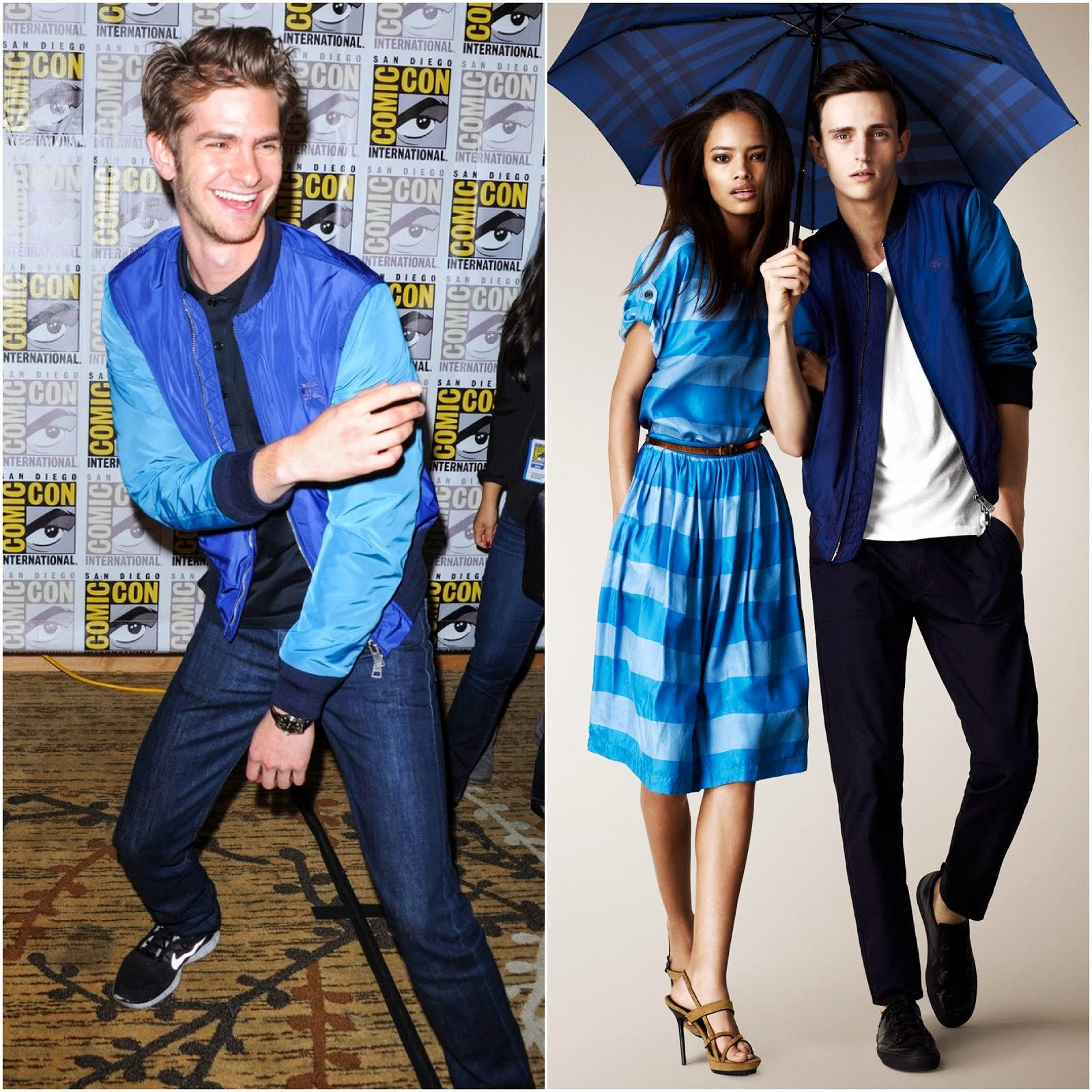 00O00 Menswear Blog: Andrew Garfield in blue turquoise Burberry Brit contrast sleeve bomber jacket blouson - Comic-Con International 2013