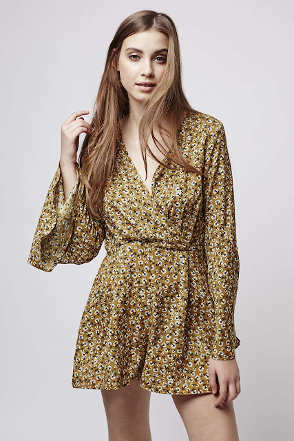 glamorous mustard playsuit, mustard ditsy playsuit, long sleeve playsuit floral,