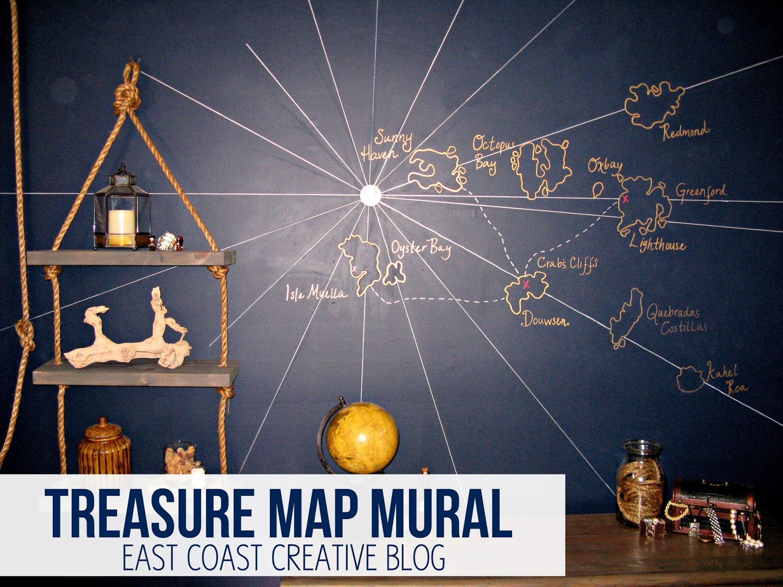 Treasure map wall mural knock it off diy project east for Diy wall photo mural