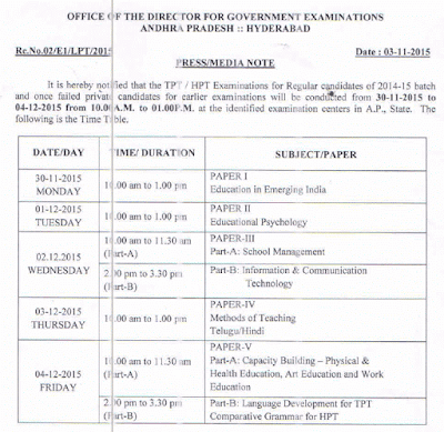 AP DGE HPT TPT Exams 2015 Time Table
