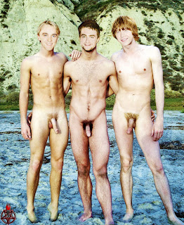 Tom Felton, Daniel Radcliffe, and Rupert Grint, All three, tall and lanky, stand naked next to eachother