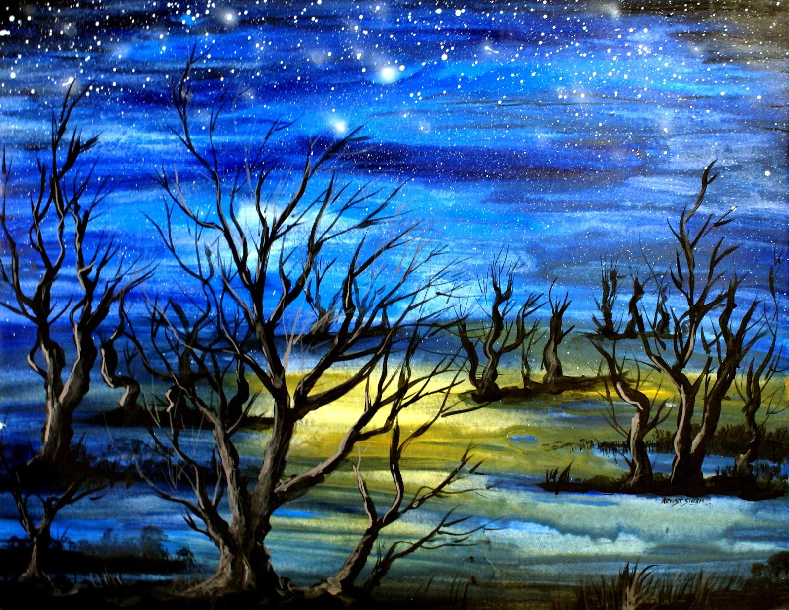 easy night scene paintings - photo #20