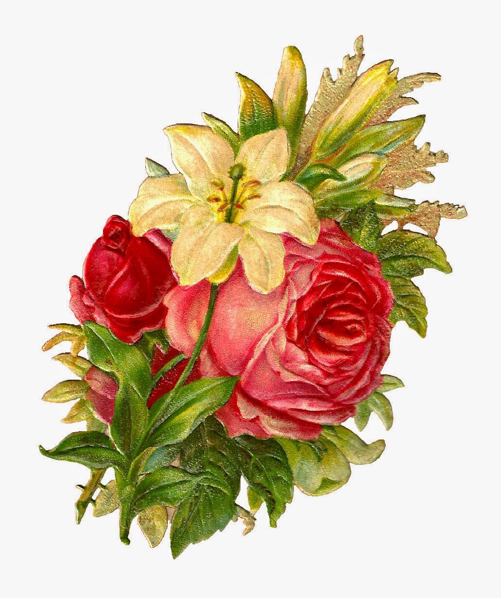 Antique Images Free Digital Flower Bouquet Images Of Red And Pink