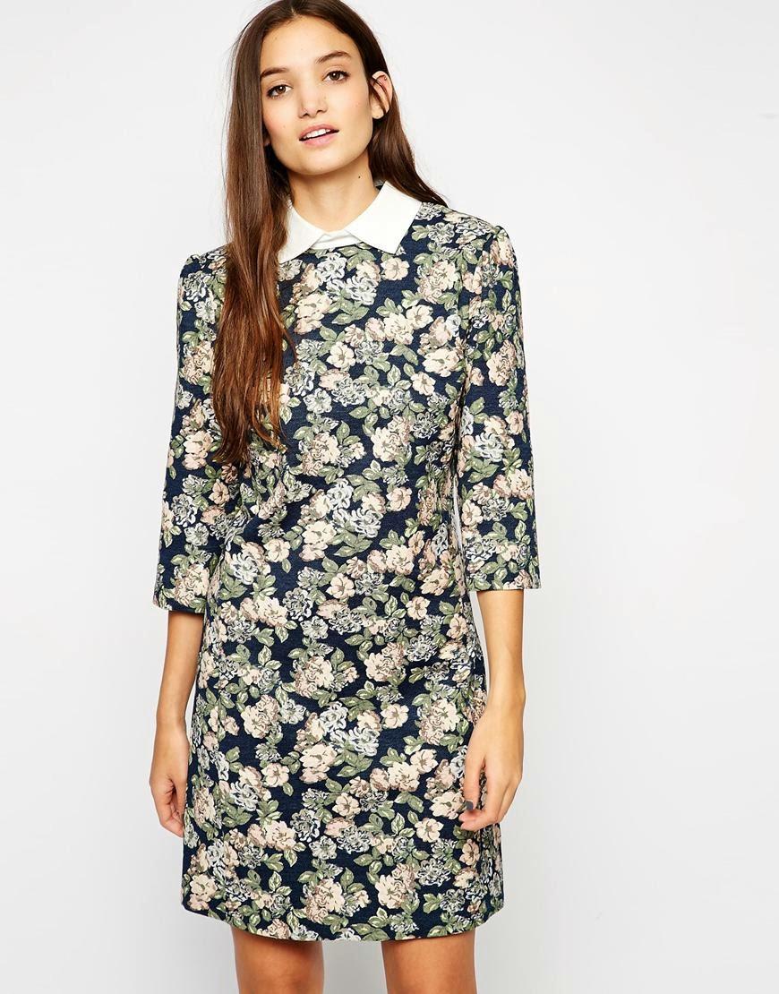 sisley dress with collar, sisley dress, sisley floral dress,