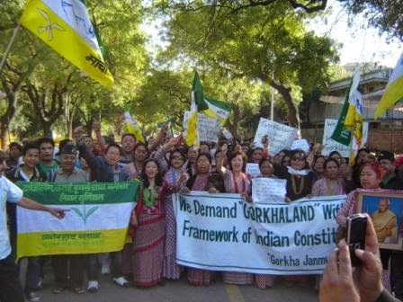 GJM supporters at the Jantar Mantar in Delhi last year.jpg