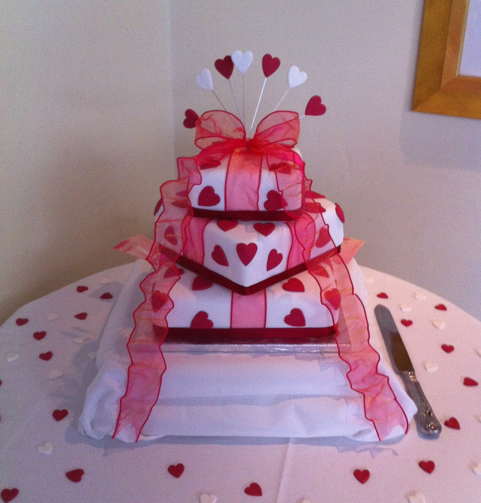 3 Tier Love Heart Wedding Cake