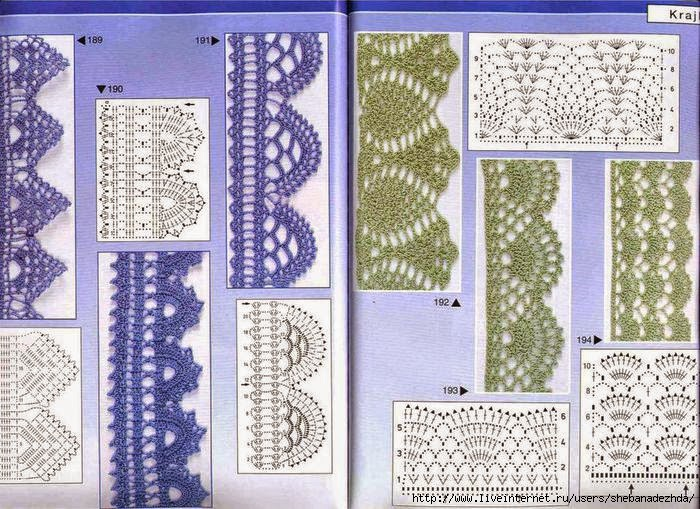 Patrones de 6 bonitas puntillas al crochet