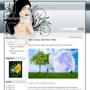 Divalicious Blogger Template. blogger template from wordpress theme. girly blogger template