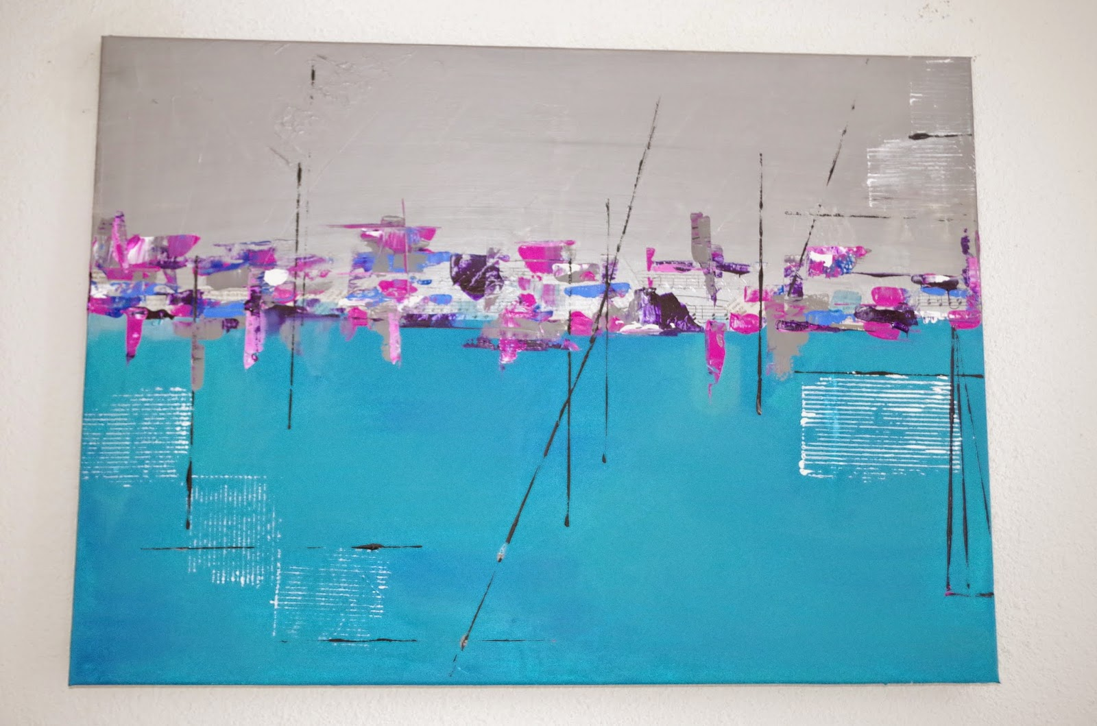 Delph peinture abstrait gris turquoise for Peinture gris turquoise