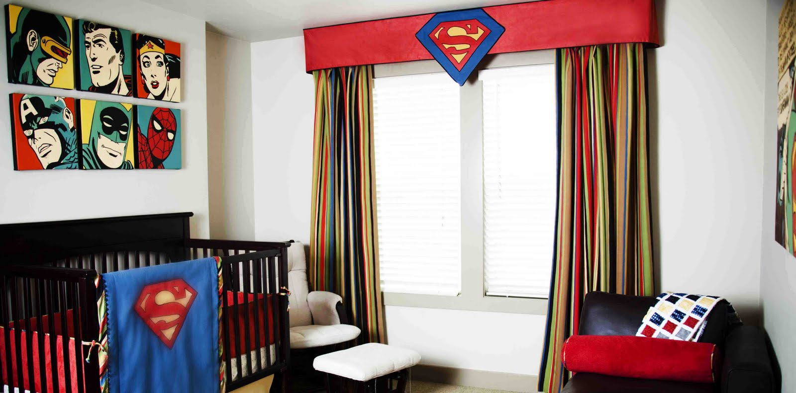 Marvelous Nursery Curtains On View When Walking Through The Door. The Curtains,  Superman Blanket .
