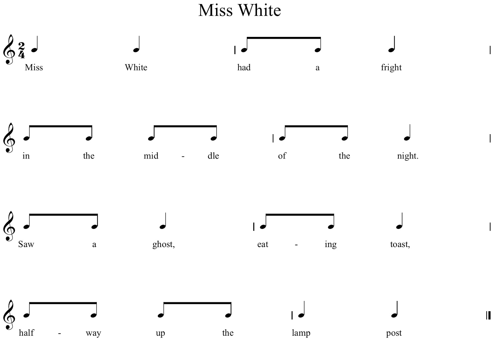 Miss white music a la abbott amy abbott kodly inspired blog i use this mainly as a readingdecoding exercise with my first graders there are endless extension activities that you can do with this from adding ibookread
