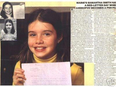 SAMANTHA SMITH: A 10-YEAR-OLD GIRL WHO WROTE A LETTER TO THE LEADER OF THE SOVIET UNION ASKING HIM WHY HE WANTED TO START A WAR