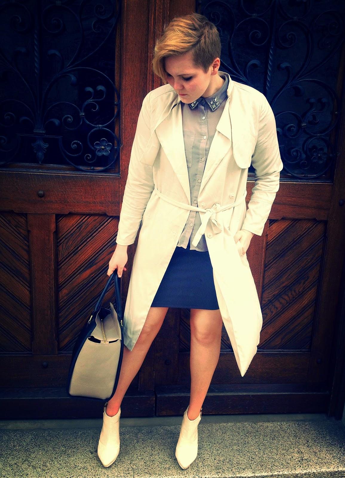 beige classic trench coat