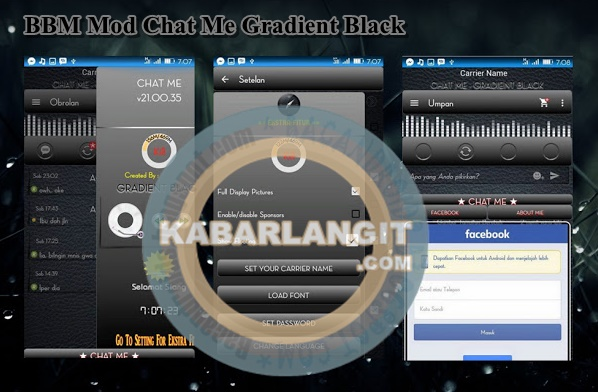 Download BBM Mod Chat Me Tema Gradient Black
