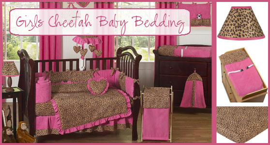 Girls Cheetah Print Baby Crib Bedding