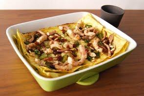 Lasagne allo stracchino e asparagi con polipo, pinoli e uvetta