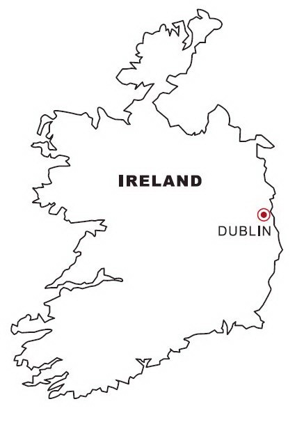 Ireland Map Coloring Color Area Ireland Coloring Pages