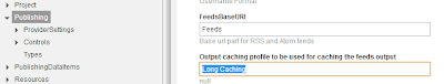 output cache settings screen