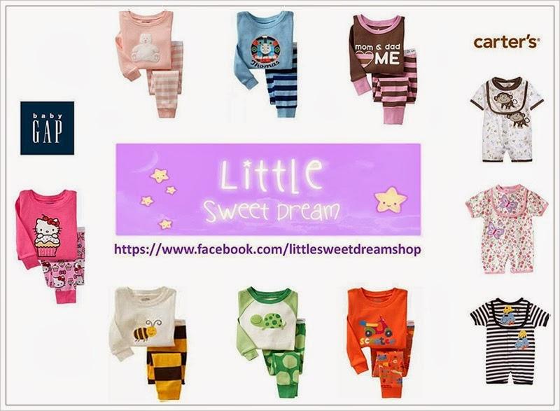 LittleSweetDream Shop : จำหน่าย ชุดนอนเด็ก สำหรับคุณหนูๆ ชุดนอนน่ารัก ๆ สดใส คุณภาพดี ชุดนอน Baby Gap , Carter's ฯลฯ มีหลายรูปแบบ ซึ่งทางร้านคัดสรรมาแล้วเป็นอย่างดี เพื่อให้คุณพ่อคุณแม่เลือกซื้อให้ลูกน้อย ... เพื่อให้เจ้าตัวเล็กหลับฝันดี Sweet Dream