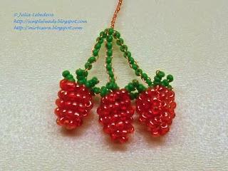 ягоды малины из бисера