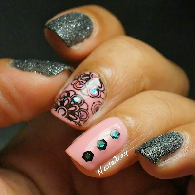 NailaDay: Zoya Dahlia and Confetti Dance Party Pink skittlette