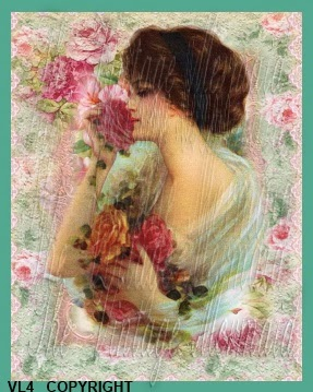 vintage lady altered art fabric block design