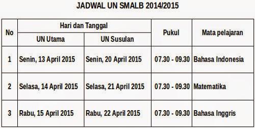 Jadwal UN SMALB 2015