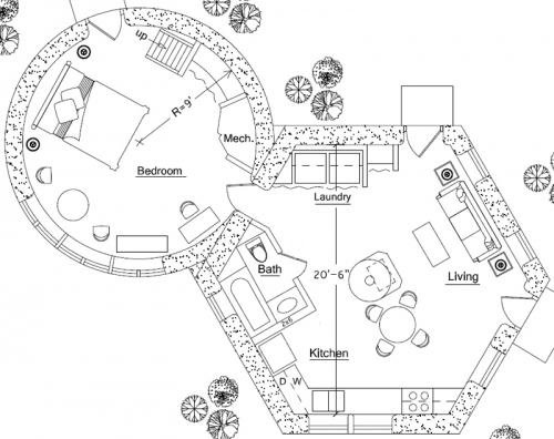 Home Plan Hexagon Roundhouse Combination Home Plan