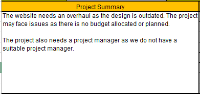 Project Status Report Template Excel. Project Summary Section  Project Summary Template