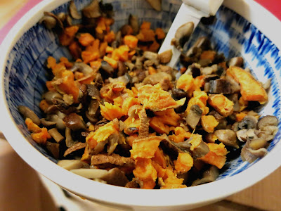 Roasted Mushroom and Sweet Potato Goat Cheese Mash