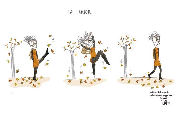 nova vinyeta còmica sobre la tardor il·lustrada per Imma Mestre Cunillera pel blog Del País dels Coixos