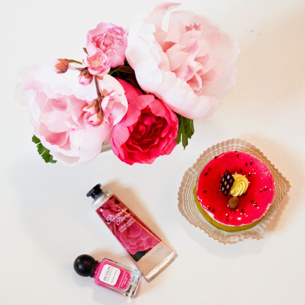 Pink Peonies, and Pink desert, with L'occitane hand cream