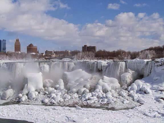 Kumpulan Foto Cuaca Extreme Air Terjun Niagara membeku