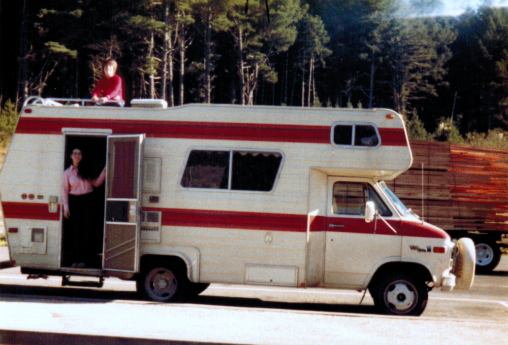 Yvonne and Raymond Belair with their camper 1980