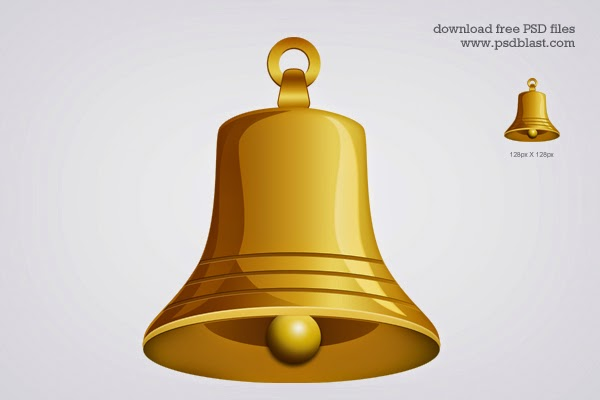 Gold Bell Icon PSD