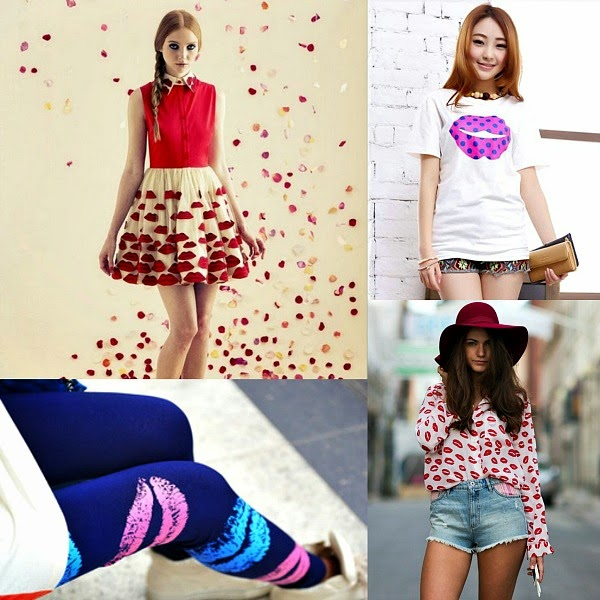 lip print fashion collage