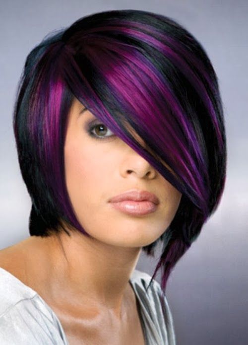 Purple highlights for short hair | Hair and Tattoos