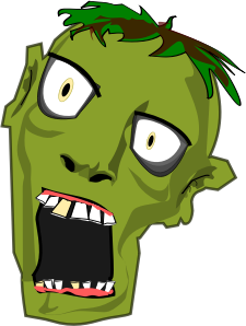 A zombie head with a gaping mouth.