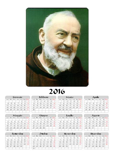 Calendario 2016 - Padre Pio