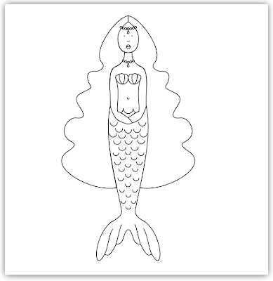 mermaid free hand embroidery pattern
