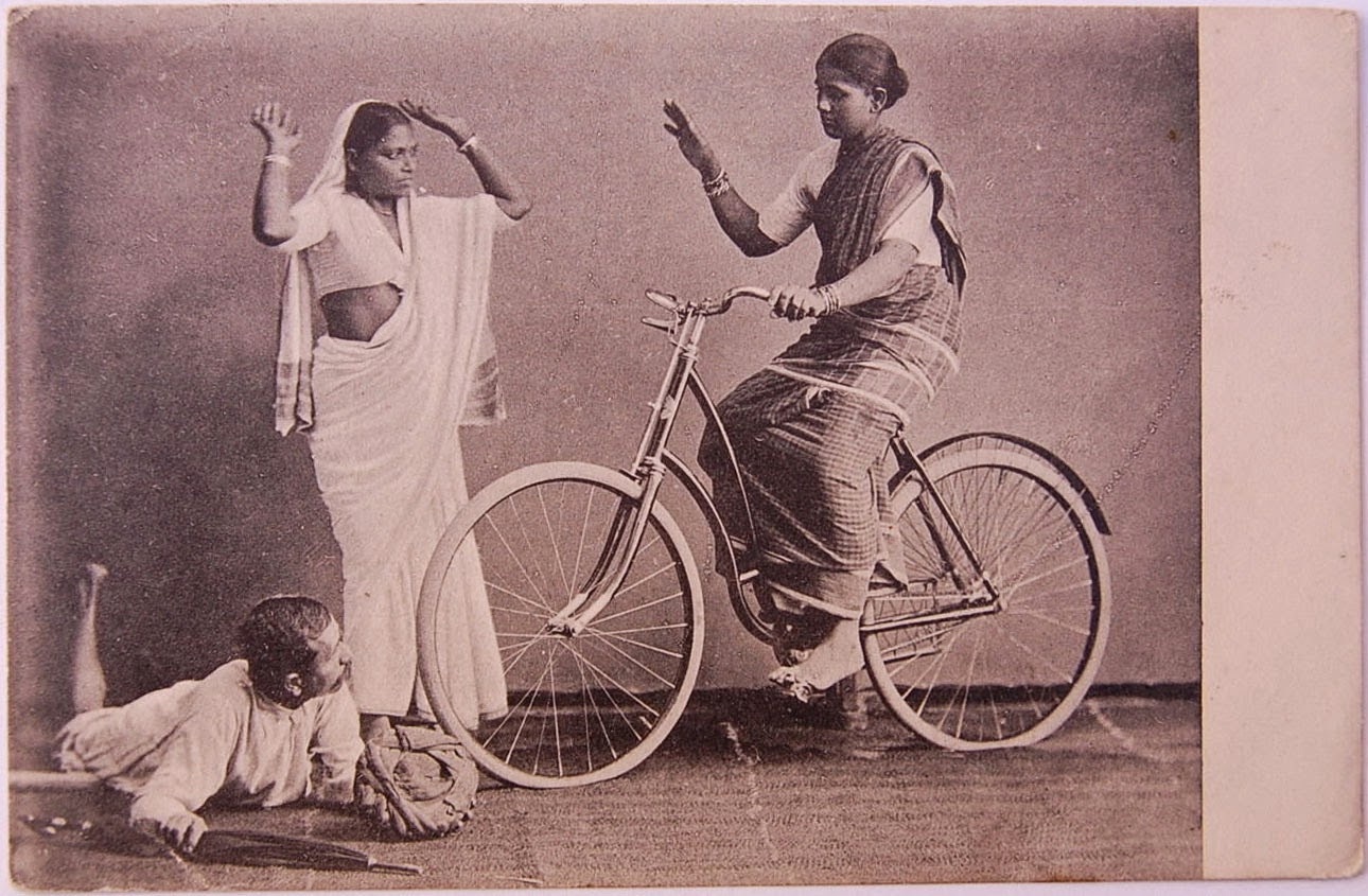 Indian Lady on a Bicycle - Studio Photograph