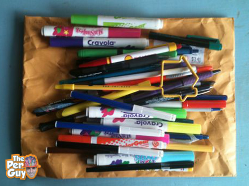 Donated used pens from San Marcos, California