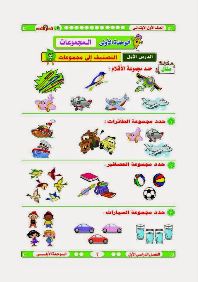 قطر الندى فى الرياضة للصف الاول الابتدائى الترم الاول 2015 6