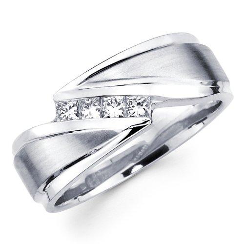 Mens Spinner Wedding Band 20 Marvelous White Gold Princess Diamond