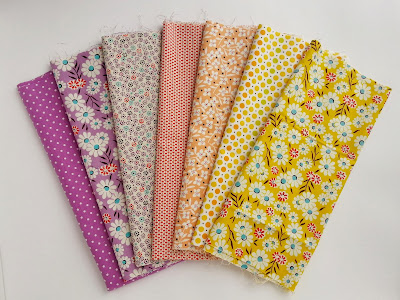 Purple, Coral, and Yellow Fabrics from JoAnn's
