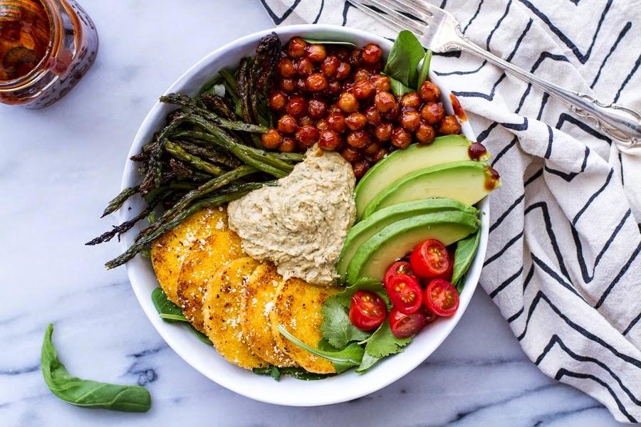 http://www.halfbakedharvest.com/spicy-bbq-chickpea-crispy-polenta-bowls-asparagus-ranch-hummus/