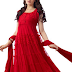 Clickedia Women Brasso and Net Beautiful long Anarkali Suit (R0001-Red) Rs.739