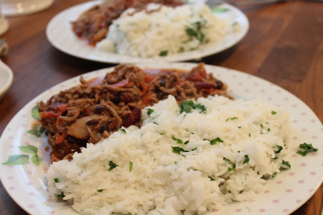 beef chilli con carne with coriander rice