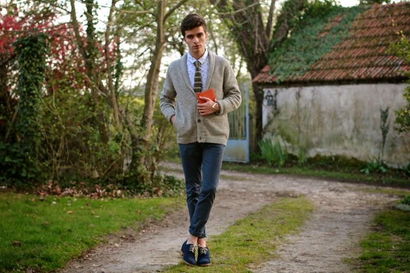 American Vintage Cardigan - Slected Chemise shirt - Asos Skinny Chino - Guidomaggi Shoes - Hermès agenda - blog mode homme mensfashion